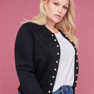 NWT Lane Bryant Women's Faux Pearl Bomber Jacket